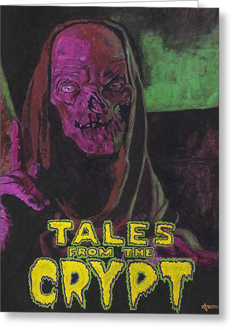 Tales From The Crypt With Text Logo Trademark Greeting Card by Aljohn Gonzales