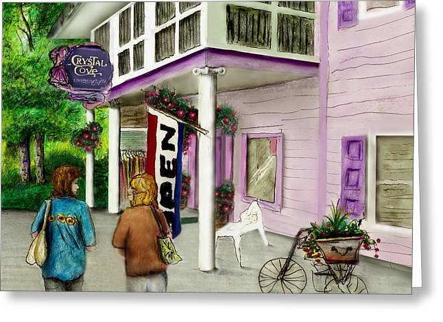Store Fronts Mixed Media Greeting Cards - The Crystal Cove at Lilydale NY Greeting Card by Albert Puskaric