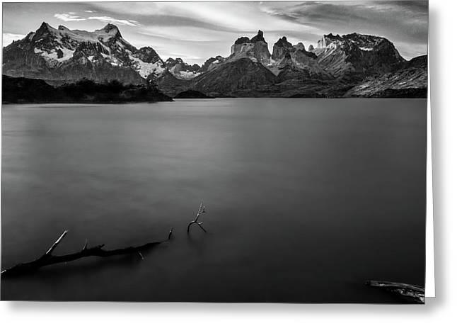 The Cuernos And Lake Pehoe - Patagonia Greeting Card