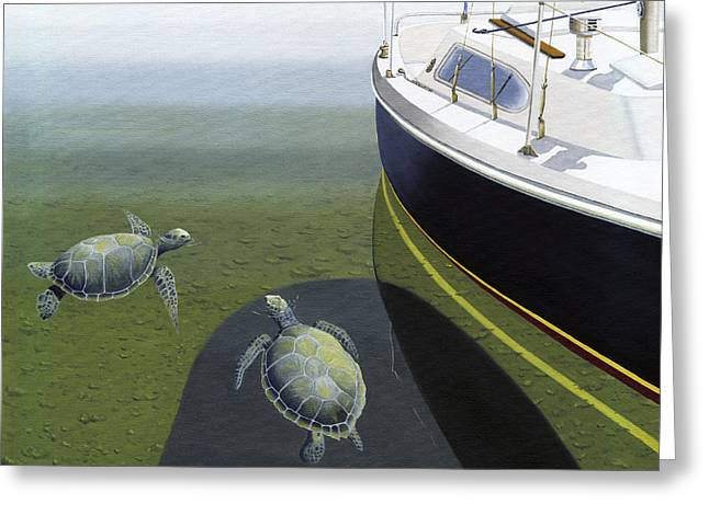 Greeting Card featuring the painting The Curiosity Of Sea Turtles by Gary Giacomelli