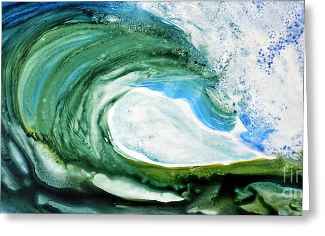 Greeting Card featuring the painting The Curl by Joan Hartenstein