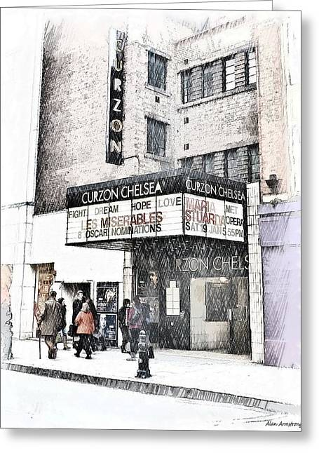 The Curzon Cinema Chelsea London Uk Greeting Card by Alan Armstrong