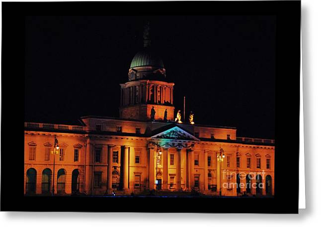 The Customs House Dublin At Night Greeting Card by Marcus Dagan