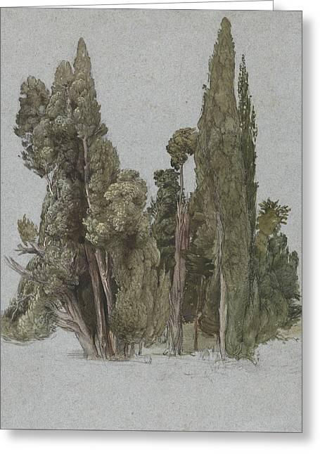 The Cypresses At The Villa D'este, Tivoli Greeting Card by Samuel Palmer