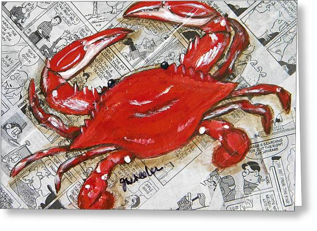 Cook Mixed Media Greeting Cards - The Daily Crab Greeting Card by JoAnn Wheeler