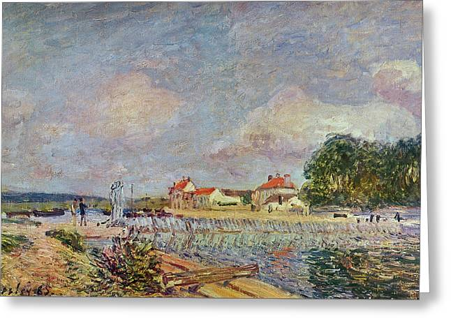 The Dam Greeting Card by Alfred Sisley