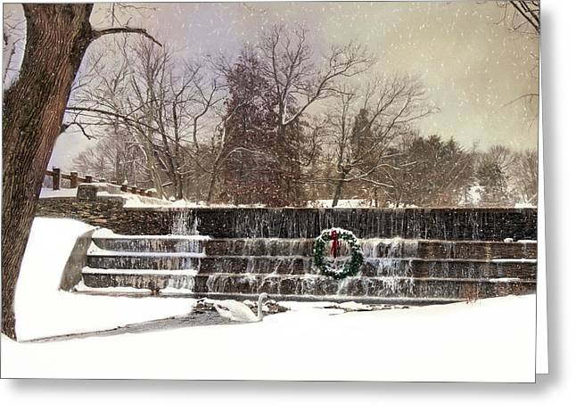 Greeting Card featuring the photograph The Dam At Christmas by Robin-lee Vieira