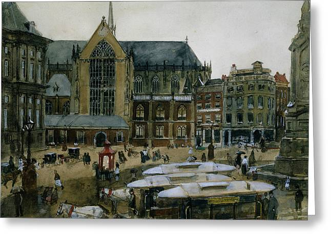 The Dam In Amsterdam Greeting Card by George Hendrik Breitner