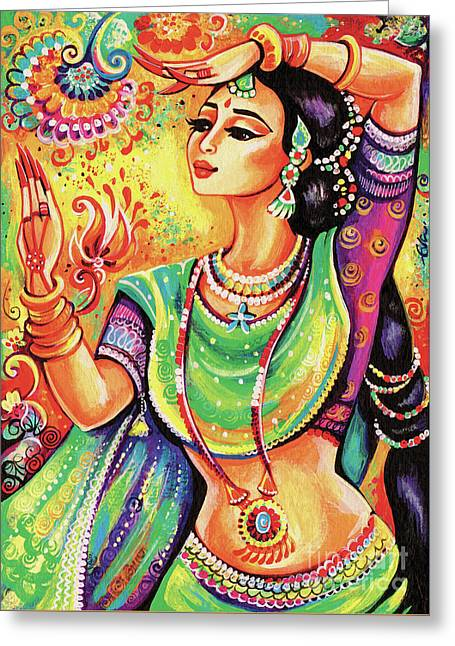 Greeting Card featuring the painting The Dance Of Tara by Eva Campbell