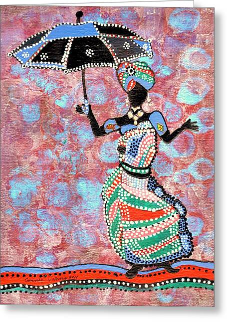 The Dancing Lady Greeting Card by Connie Valasco
