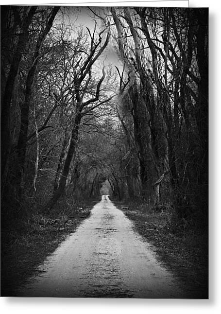 The Dark Road Greeting Card by Darin Bokeno