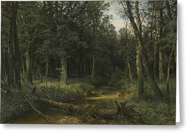 The Dark Wood Greeting Card by Ivan Shishkin