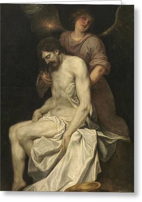The Dead Christ Supported By An Angel Greeting Card by Alonzo Cano