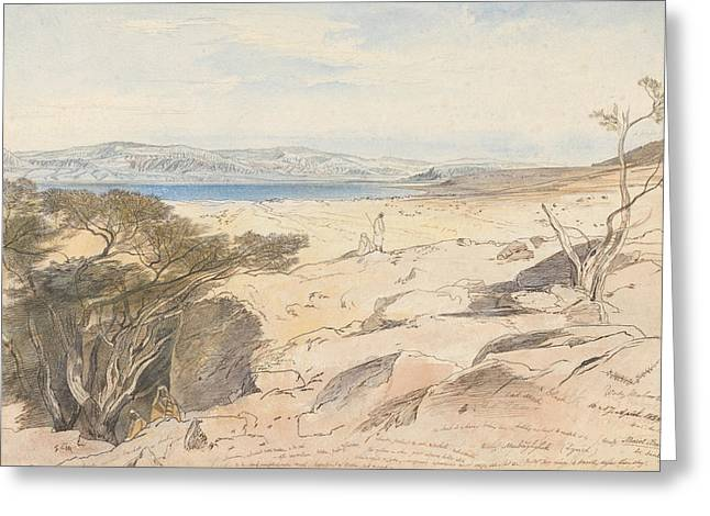 The Dead Sea, 16 And 17 April 1858 Greeting Card by Edward Lear