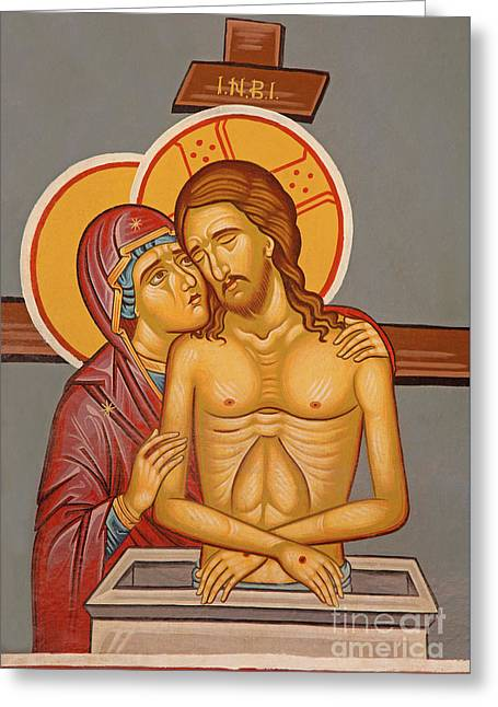 The Death Christ With The Holy Mary Fresco - Icon Greeting Card by Jozef Sedmak