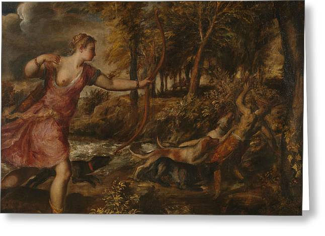The Death Of Actaeon Greeting Card