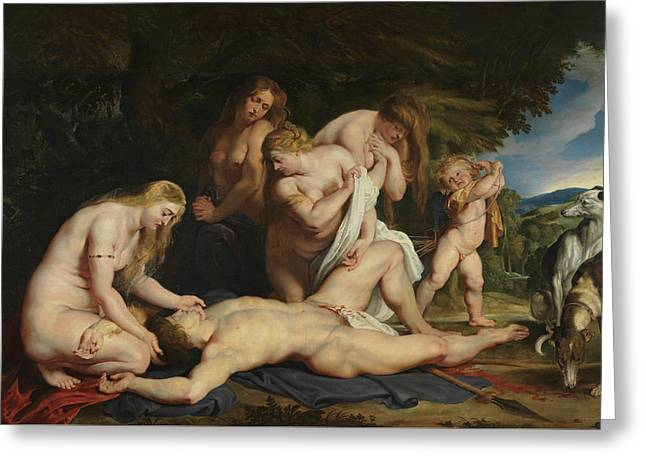 The Death Of Adonis Greeting Card by Peter Paul Rubens