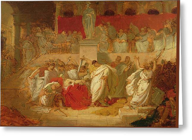 The Death Of Caesar  Greeting Card by Vincenzo Camuccini