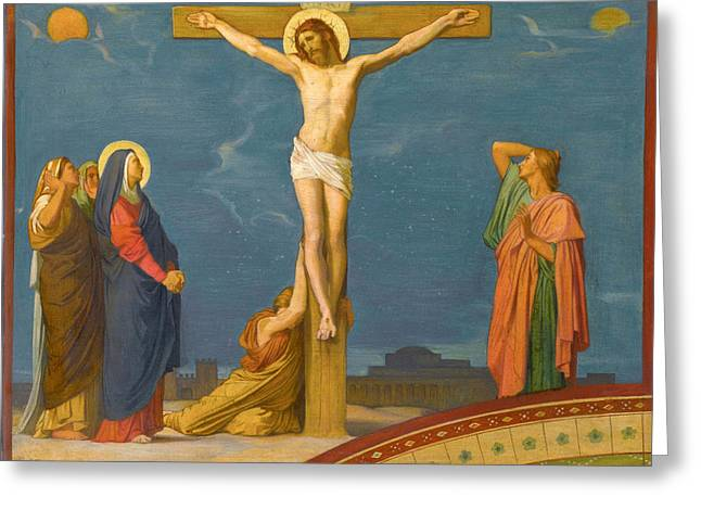 The Death Of Jesus Christ On Calvary Greeting Card by Jean-Hippolyte Flandrin