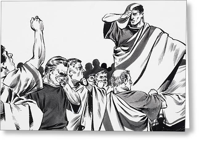 The Death Of Julius Caesar Greeting Card