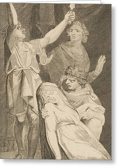 The Death Of Lucretia, From Allen's New And Impartial Roman History Greeting Card