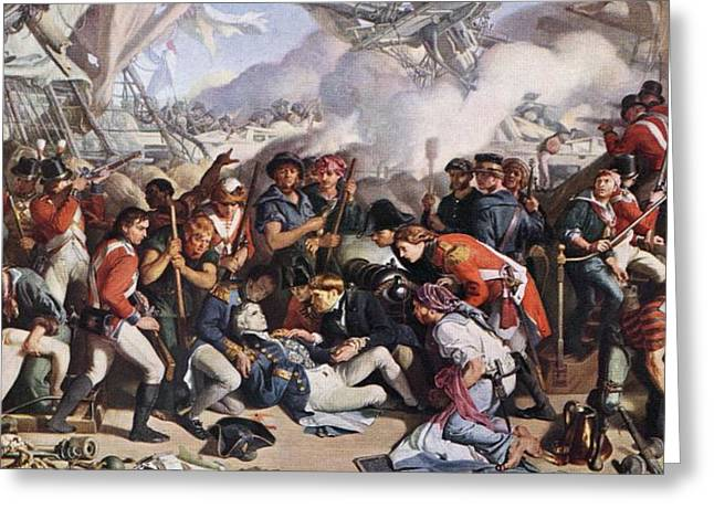 The Death Of Nelson. Painting By Daniel Greeting Card by Vintage Design Pics