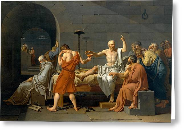 The Death Of Socrates - Jacques-louis David  Greeting Card by War Is Hell Store