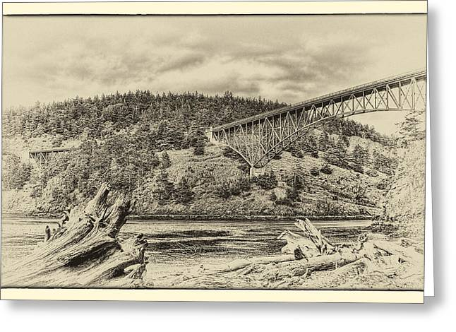 Deception Beach Greeting Cards - The Deception Pass Bridge in the Puget Sound Greeting Card by David Patterson
