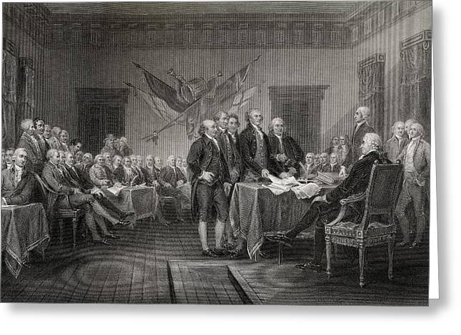 The Declaration Of Independence July Greeting Card by Vintage Design Pics