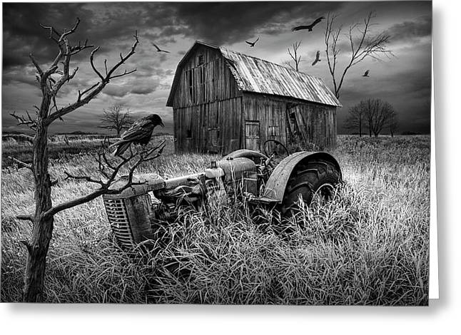 Greeting Card featuring the photograph The Decline And Death Of The Small Farm In Black And White by Randall Nyhof