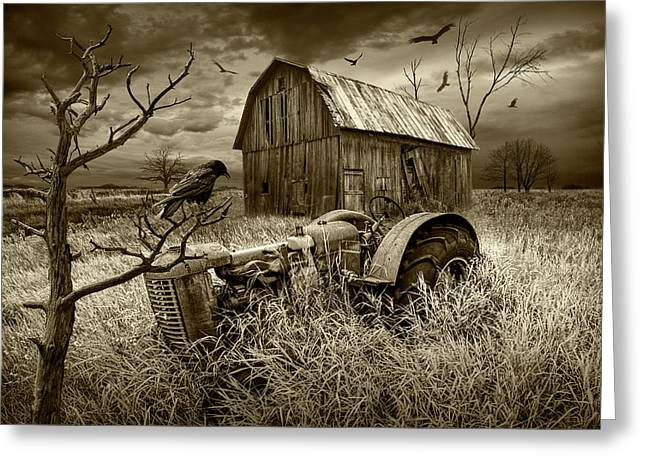 Greeting Card featuring the photograph The Decline And Death Of The Small Farm In Sepia Tone by Randall Nyhof