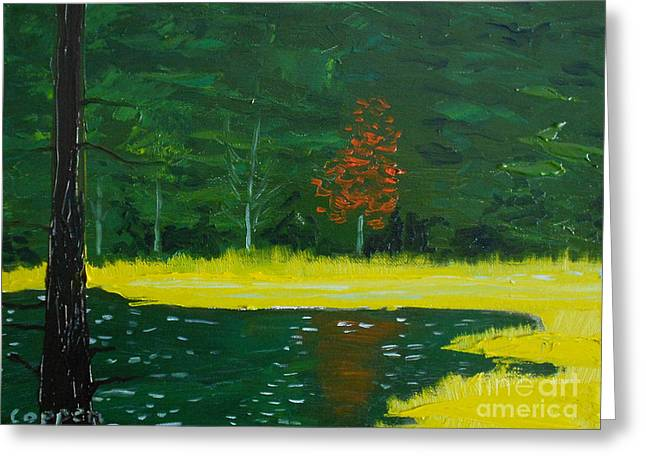 Greeting Card featuring the painting The Deer Pond by Robert Coppen