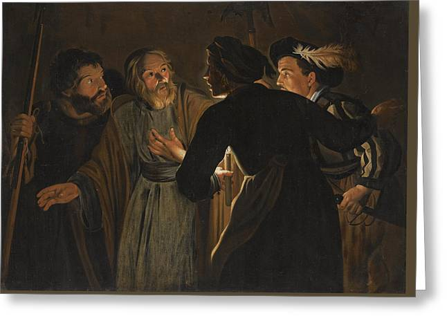 The Denial Of Saint Peter Greeting Card by Follower of Gerard Seghers