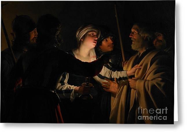 The Denial Of St Peter Greeting Card by Gerrit van Honthorst
