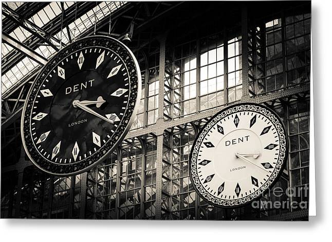 The Dent Clock And Replica At St Pancras Railway Station Greeting Card by Peter Noyce