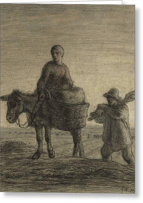 The Departure For Work Greeting Card by Jean-Francois Millet