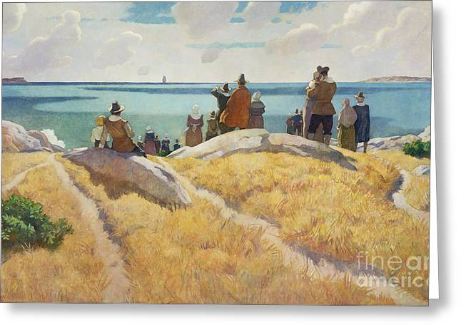 The Departure Of The Mayflower For England In 1621 Greeting Card by Newell Convers Wyeth
