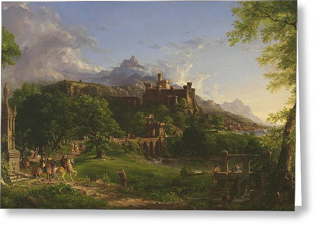 The Departure Greeting Card by Thomas Cole