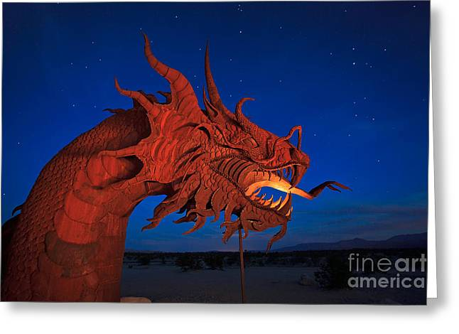 The Desert Serpent Under A Starry Night Greeting Card by Sam Antonio Photography