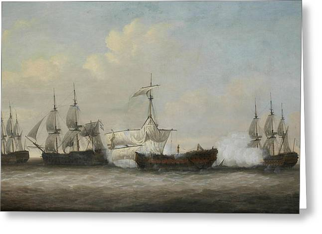 The Desperate Plight Of The Monmouth At The Close Of The Action With Three French Ships  Greeting Card