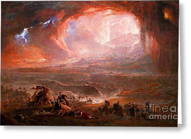 The Destruction Of Pompeii And Herculaneum Greeting Card by MotionAge Designs