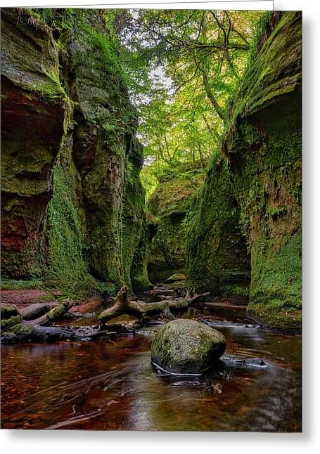 The Devil Pulpit At Finnich Glen Greeting Card by Jeremy Lavender Photography