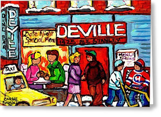 The Deville Diner Bar Montreal Food Paintings Hockey Scenes Canadian Art Carole Spandau Greeting Card
