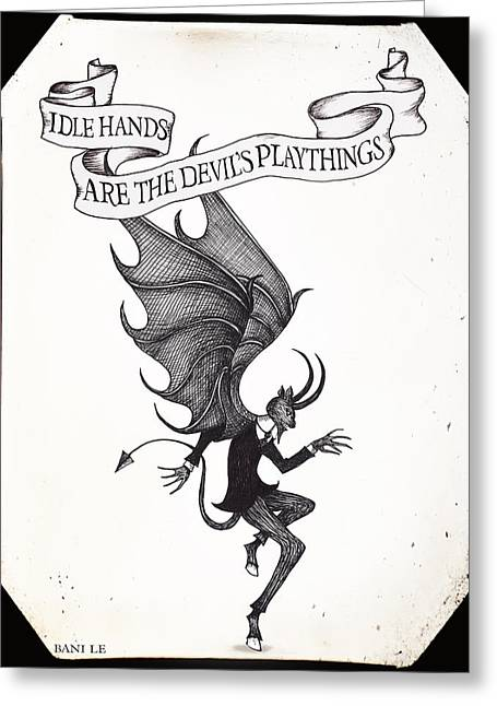 The Devil's Playthings Greeting Card by Little Bunny Sunshine