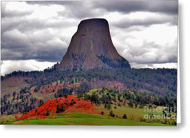 Monolith Greeting Cards - The Devils Tower WY Greeting Card by Susanne Van Hulst