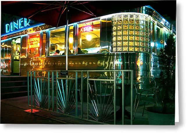 The Diner By Night Greeting Card by Dieter  Lesche