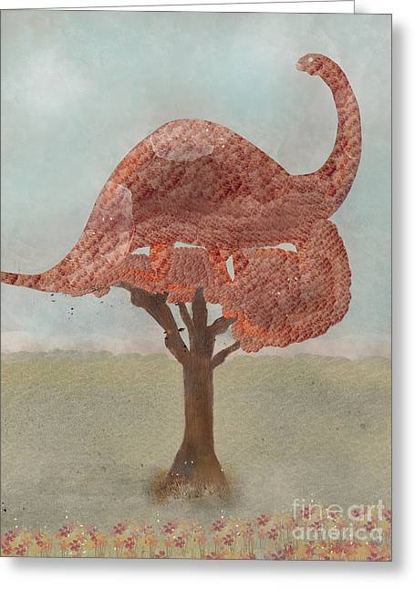 Greeting Card featuring the painting The Dinosaur Tree by Bri B