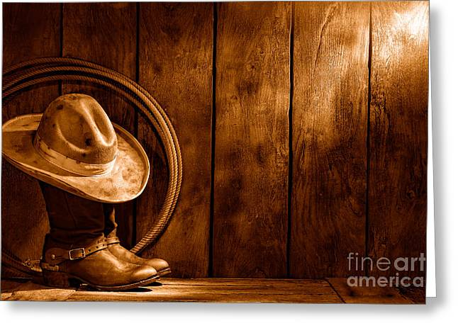The Dirty Hat - Sepia Greeting Card by Olivier Le Queinec