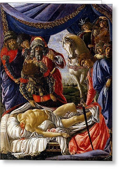 The Discovery Of Holofernes' Corpse Judith Returns From The Enem Greeting Card by Sandro Botticelli