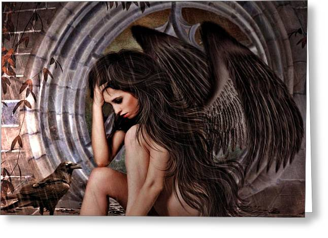 Distress Angel Greeting Card by G Berry